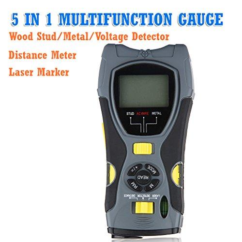 Floureon® 5 In1 Multifunction Gauge Distance Meter Wood Stud Detector / Metal / Voltage Detector, Laser Marker