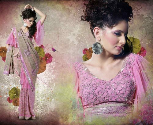 Divyani Pink Bridal Embroidered Party wear contemporary georgette banarsi sari fabric / saree / wrap