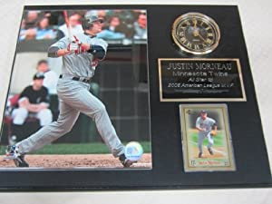 Justin Morneau Minnesota Twins Collectors Clock Plaque w 8x10 Photo and Card by Justin