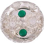 German Silver Plated Pooja Plate Pooja Thali Pooja Articles Dealer Silver Wilver Silver Plated Roli Chawal Green...