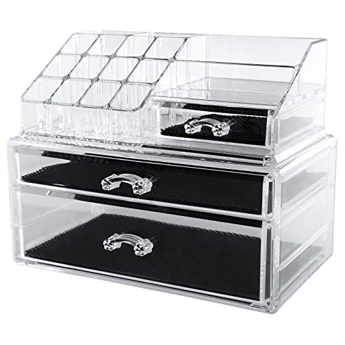 songmics acryl kosmetik aufbewahrung organizer 2 schubladen jka004. Black Bedroom Furniture Sets. Home Design Ideas