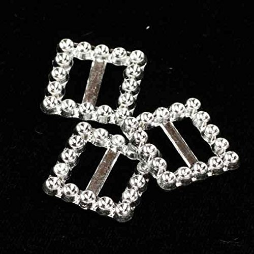 """Club Pack of 400 Silver Craft Faux Rhinestone Small Square Buckles .75"""""""