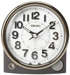 Seiko Bedside Alarm Clock Black Case with Silver-Tone Trim