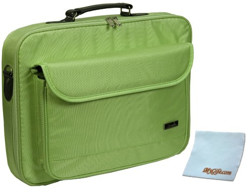 17 inch Neon Green Notebook Laptop Shoulder Messenger Bag / Carry on Briefcase + MyGift Microfiber Cleaning Cloth