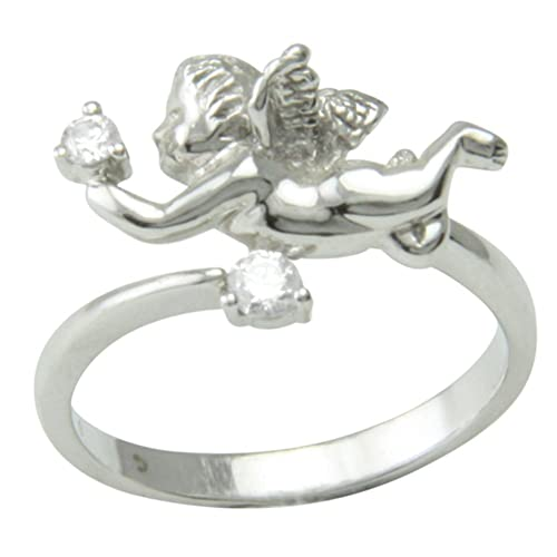 SKIELKA DESIGNSCHMUCK SKIELKA DESIGNSCHMUCK 14K White Gold Angel Ring with Cubic Zirconia - Goldsmith Quality