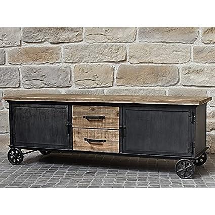 Bahut Enfilade mueble de TV TV con cajones mesillas Industrial campaña 155cm)