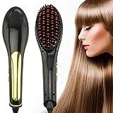 Hhe Hair Brush Straightener Digital Anti Static Ceramic Instant Silky Straight Hair Styling Anion Hair Care,Anti Scald Detangling Comb(Black)