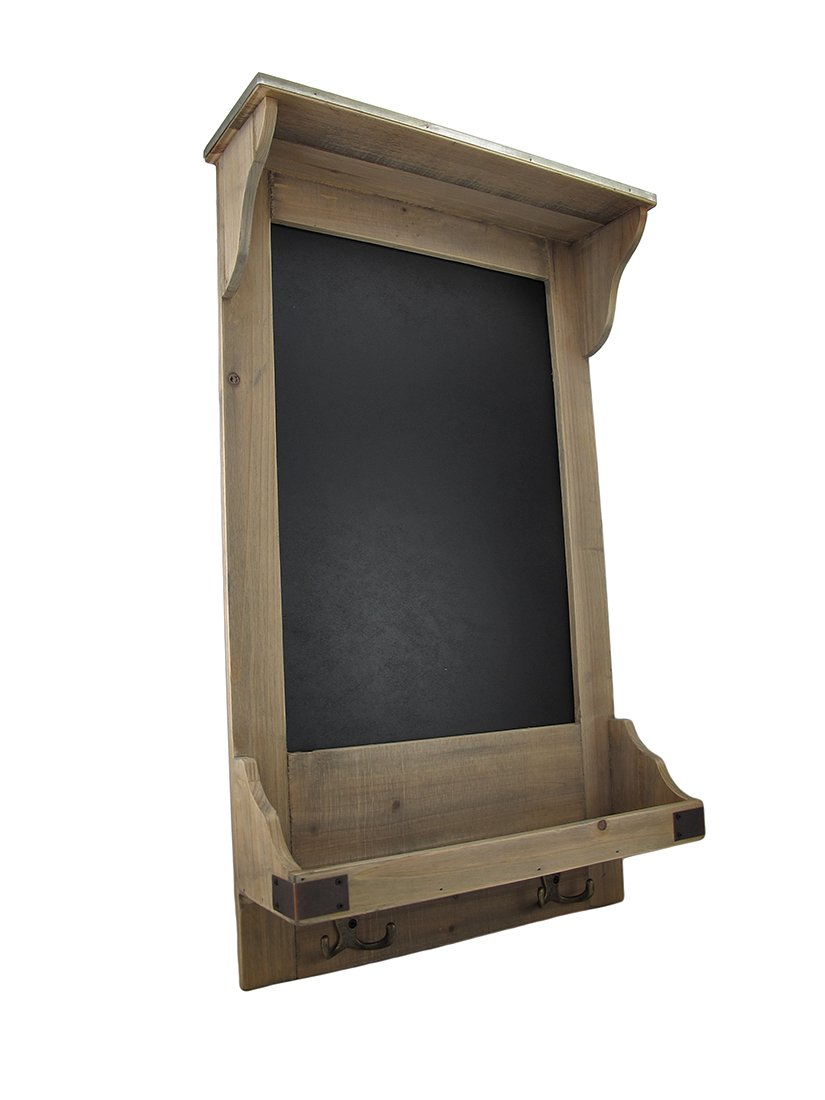 Vintage Style Wooden Wall Shelf w/Hooks and Chalkboard 0
