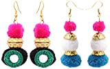 Badhs design studio Resin Handmade Dangle and Drop Earrings for Women - Pack of 2 (BFS-51)