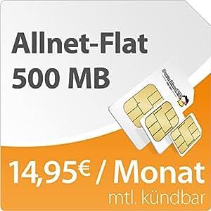 DeutschlandSIM Flat S 500 [SIM und Micro-SIM] monatlich kündbar (500MB Daten-Flat mit max. 7,2 MBit/s, Telefonie-Flat, 9ct pro SMS, 14,95 Euro/Monat) o2-Netz