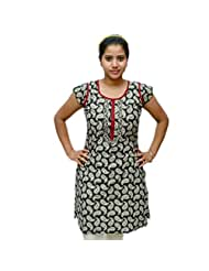 Odishabazaar Women's White Black Cotton Printed Kurti M - B00YNJJX16