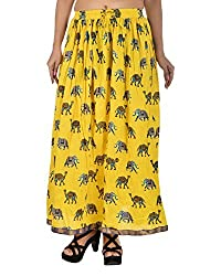 Aura Life Style Women Cotton Long Skirt (ALSK2043P, Yellow, Free Size)