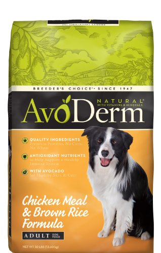 AvoDerm Natural Chicken Meal and Brown Rice Formula Adult Dog Food, 30-Pound