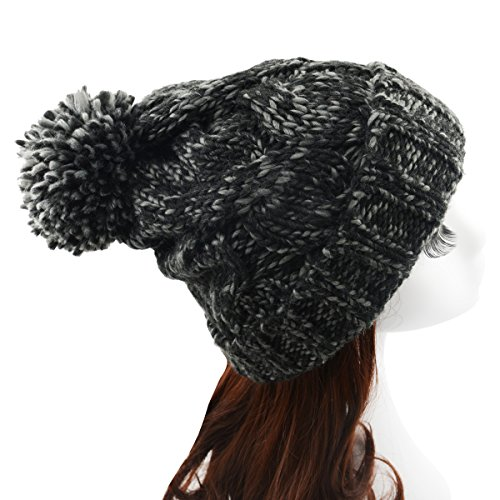 Century Star Unisex Warm Knit Soft Beanie Multicolor Trendy Pom-Pom Hat Cap Black