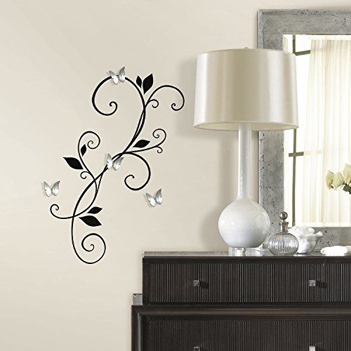 RoomMates RMK2689SCS Scroll Sconce Peel and Stick Wall Decals with Bendable Butterfly Mirrors