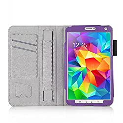 Galaxy Tab S 8.4 Case, MOFI Purple Leather Flip Cover Stand Book Case with Elastic Hand Strap and Card Holder and magnetic closure for Samsung Galaxy Tab S 8.4 (Auto wake and sleep) - Purple