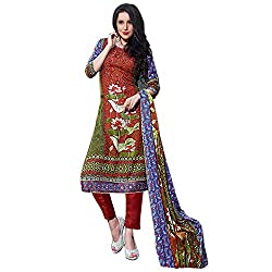Desi By Design Red Embroidered Pashmina Salwar Kameez Suit Dress Material with Pashmina Shawl / Stole