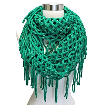 Free Crochet Pattern For Infinity Scarf With Fringe : Luxury Divas Green Wide Open Knit Crochet Long Fringed ...