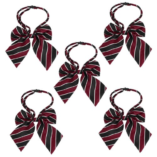 5 Pcs Ruffled Burgundy Navy Blue Diagonal Stripes Polyester Bowknots For Ladies