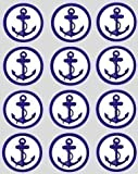 12 Anchor rice paper fairy cup cake 40mm toppers pre cut decoration