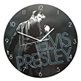Vandor 47989 Elvis Presley Cordless Wood Wall Clock, Multicolored
