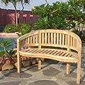 Ambientehome Teakholz Gartenbank 2er Bank Bananenbank Natur, ca. 120 cm von Sparmeile - Gartenmöbel von Du und Dein Garten