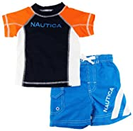 Nautica Infant Boys Orange/Blue Print Rashguard Swim Top w/ Shorts 2 Pc s12-24M