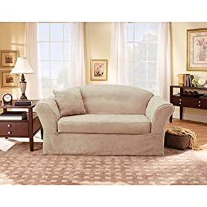 Sure Fit Suede Supreme 2-Piece Sofa Slipcover, Taupe