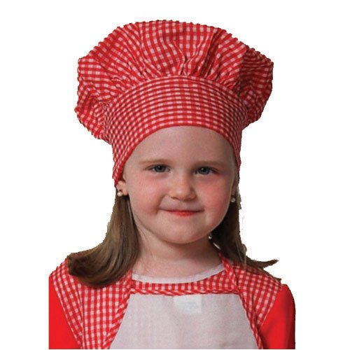 Red Gingham Chef Hat (kids), closes with Velcro one size fits most kids