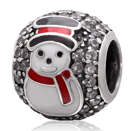 Sterling Silver Snowman  Cubic Zirconia Charm Bead
