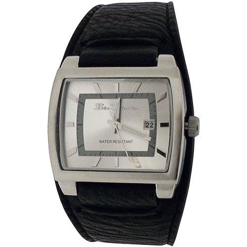 Ben Sherman Gents Silvertone Rectangular Dial Date Black PU Strap Watch R927