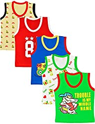MYFAA Baby Boys' Cotton Regular Fit Vest - Combo of 5 (Multi-Coloured, 0-3 Months)