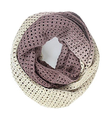 Knit Ombre Two tone Fishnet Infinity Circle Neck warmer,Brown