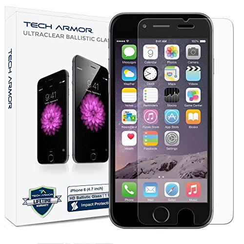 iPhone 6 (4.7 inch ONLY) HD Clear Ballistic Glass Screen Protector, Tech Armor Apple iPhone 6 Premium HD Clear Ballistic Glass Screen Protector - Protect Your Screen from Scratches and Drops - Maximize Your Resale Value - 99.99% Clarity and Touchscreen Accuracy