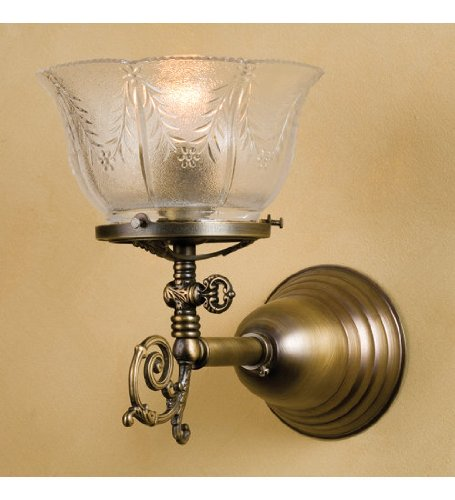 Meyda Tiffany Custom Lighting 36617 Auburn Wheat Gas 1-Light Wall Sconce, Antique Brass Fish with Wheat Patterned Clear Glass Shade at Amazon.com