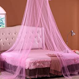 W8sunjs New Round Dome Bed Canopy Netting Princess Mosquito Net (pink)