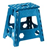 Folding Step Stool 15 Inch with Anti Slip Dots (Blue)