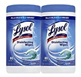 Lysol Disinfecting Wipes, Ocean Fresh, 80 Count (Pack of 2)