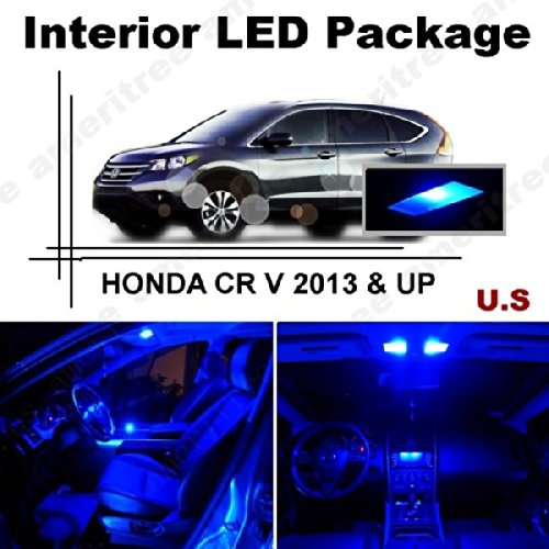 Ameritree Blue Led Lights Interior Package + Blue Led License Plate Kit For Honda Cr-V 2013-2014 (6 Pieces)