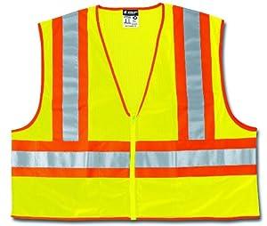 MCR Safety WCCL2LFRX4 Class 2 Polyester Mesh Flame Resistant Safety Vest with 3M Scotchlite Orange/Silver Reflective Stripe, Fluorescent Lime, 4X-Large