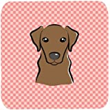 "Caroline's Treasures BB1234FC Checkerboard Pink Chocolate Labrador Foam Coaster (Set Of 4), 3.5"" H X 3.5"" W, Multicolor"