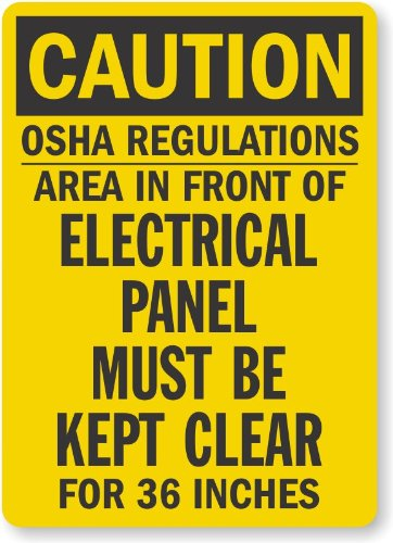 "Smartsign Adhesive Vinyl Osha Safety Sign, Legend ""Caution: Electrical Panel Must Be Kept Clear"", 10"" High X 7"" Wide, Black On Yellow"