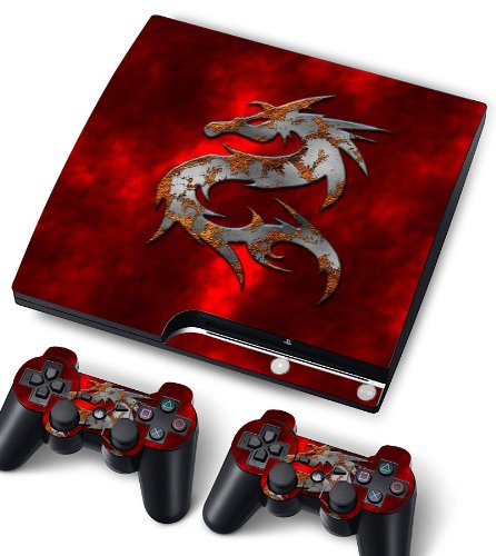 Bundle Monster Vinyl Skin Sticker For PlayStation PS3 S SLIM Game Console - Cover Protector Art Decal - Red Dragon