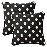 Pillow Perfect Decorative Black/White Polka Dot Toss Pillows, Square, 2-Pack