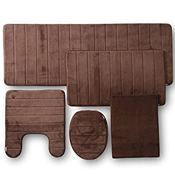 TOWNHOUSE RUG Memory Foam Bathroom Set Combo, 5 Piece, Brown