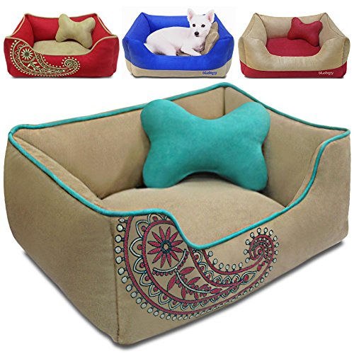 Blueberry Pet Microsuede Pet Bed, Recyclable & Removable Stuffing w/YKK Zippers, Machine Washable, Heavy Duty Overstuffed Beds for Cats & Dogs, 25″ x 21″ x 10″, Champagne Beige Embroidered Paisley