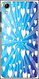 Snoogg Flying Hearts On Blue Background Designer Protective Back Case Cover For HTC Desire 728