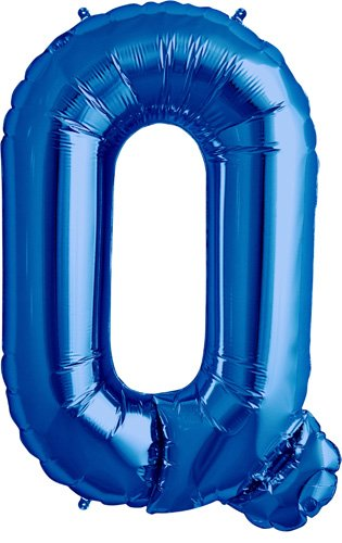 Letter Q - Blue Helium Foil Balloon - 34 inch