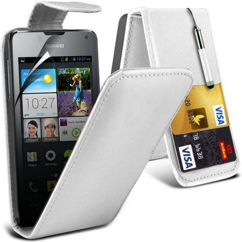 huawei-ascend-y300-leather-flip-case-cover-white-plus-free-gift-screen-protector-and-a-stylus-pen-or