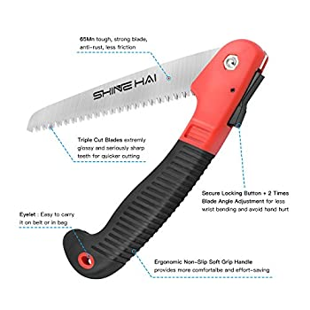 SHINE HAI Folding Hand Saw, Camping/Pruning Saw with Rugged 7 Blades, All Purpose, Best for Tree Pruning, Camping, Hunting, Toolbox and Daily Use with Non-slip Ergonomics Handle Pruning Saws